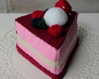 Felt Raspberry Mousse Cake- Felt cake, play food, tea party, cute deco