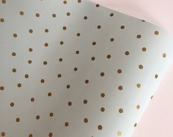 Mint and Gold Dot Wrapping Paper 30 inches x  12 feet, Mint Green Gift Wrap, Gold Dot Gift Wrap, Mint Green Gift Wrapping, Mint Green Paper
