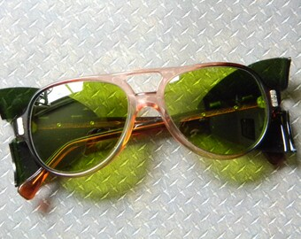 Cool Vintage Green Sunglasses with Side Shields - New Old Stock Eye Protection Eyewear Mfg. by American Optical in Box - Never Worn