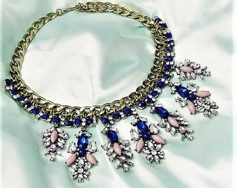Statement necklace with gold Blue Lilac rhinestone
