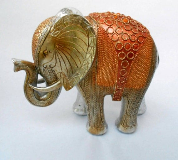 9 h silver leaf elephant sculpture elephant figurine Silver elephant home decor