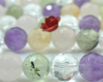 47 pcs of Natural Mixed Quartz faceted round beads in 8mm