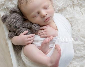 Crochet bear buddy in 100% wool-, photo prop, gift ,display, boy, girl, knit, crochet