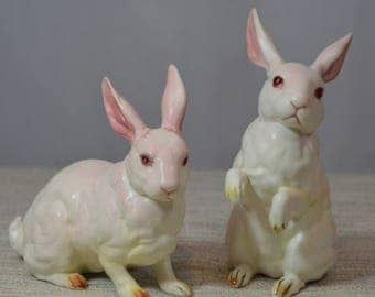 Pair of Lefton Vintage White Rabbits