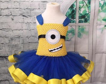 Minion tutu, minion dress, minion costume, minion birthday dress, minion birthday outfit, blue and yellow tutu, monster tutu dress