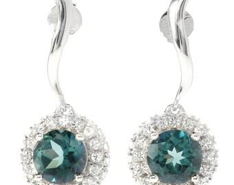 """Sterling Silver 4.18ctw Green Topaz Halo Drop Earrings, 1""""L"""