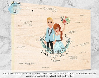 Unique Wedding Gift Wedding Signs Guest Book Sign, Wood Guest Book Alternative Wedding Illustration, Wedding Portrait Wedding Guestbook Idea