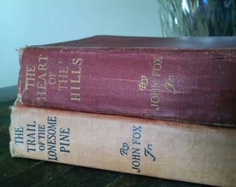 John Fox Jr. Books The Heart of the Hills, The Trail of The Lonesome Pine. Red vintage books orange vintage books rare books old books
