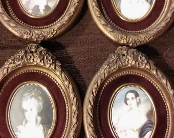 Set of 4 Vintage Cameo Creations Wall Art Bedroom Wall Decor Women Ladies Portraits Gifts