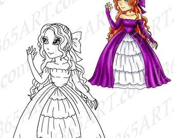 50 off clipart princess girl clipart girl clip art princess clip art digital stamp coloring page anime chibi 8 x 10 download com