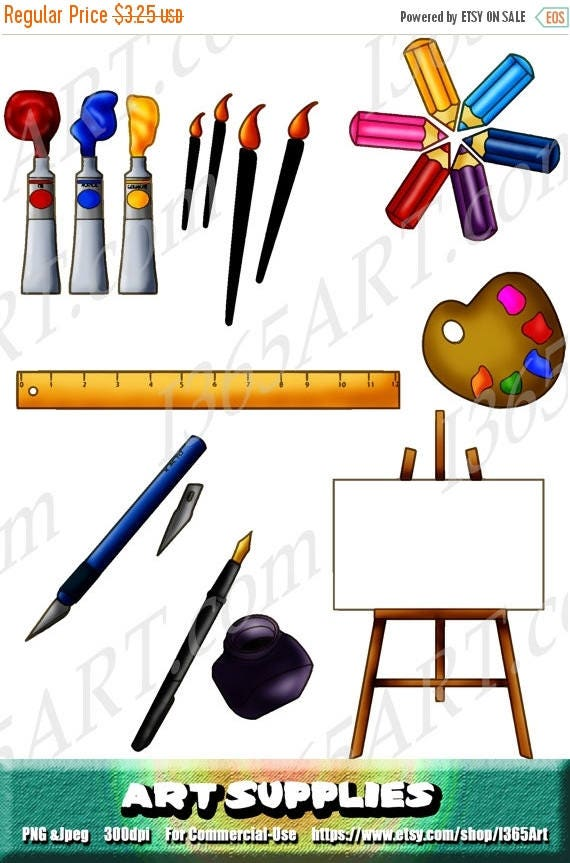 50% OFF Art Supplies Clipart Art Supplies Clip art Painting