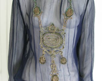 Vintage Sheer Blue Silk Art Deco Inspired Blouson Top - Peasant Blouse with Hand Sewn Beads & Sequins - Size Small/Medium