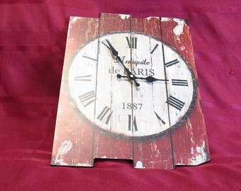 """Wooden Red Wall Clock - Antique Art - Decorated With Words """" Antiquite de Paris """" - A Great Fun Piece For Any Room - New - Unused."""
