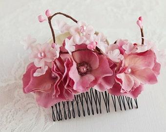 Cherry Blossom Bridal Hair Comb, Hydrangea Flower Hair Piece, Boho Bridal Fascinator, Wedding Hair Comb, Cherry Blossom Hair Accessory