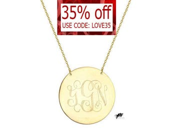 "Monogram necklace - personalize gold monogram necklace 1.25"" gold plated 18k on .925 silver"