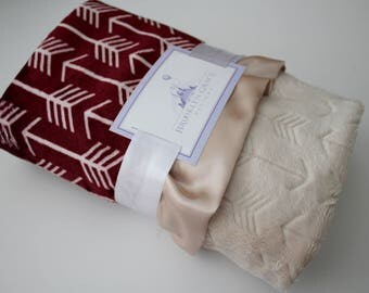 Merlot and White Arrow Minky with Beige Embossed Arrow Back and Champagne Satin Trim - Baby, Crib Bedding, Nursery, Aztec, Tee Pee, Burgundy