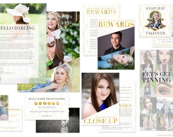 SALE Modern Gold Geometric Senior Photography Welcome Packet