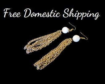Tassel Earrings, Dangle Earrings, Chain Earrings, Vintage Earrings, White Gold Earrings, Long Mid Century Earrings, Free US Shipping