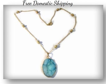 One of a Kind, Gift for Her, Druzy Agate Necklace, Large Blue Agate, Swarovski Necklace, 14K Gold Necklace, Semi Precious, Free US Shipping