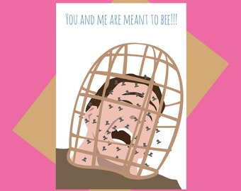 Nicholas Cage greeting card - Wicker Man bees - Funny love card