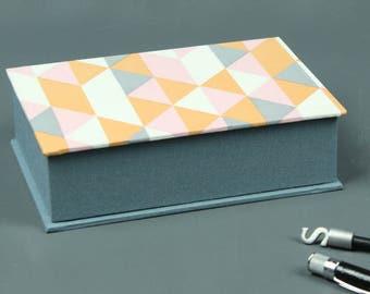Grey gray jewelry box jewelry box, box, box, jewelry box, grey apricot patterned box graphically patterned box