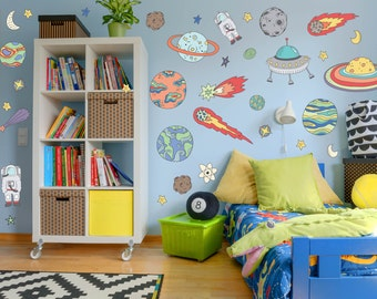 Space wall decals etsy for Outer space childrens decor