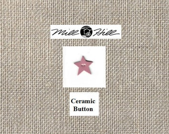 Mill Hill - Hand Painted Ceramic Button - Dusty Rose Star - By the Button