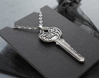 Sherlock 221B Baker Street key necklace / pendant on silver tone chain / BBC Sherlock cosplay prop / convention accessory