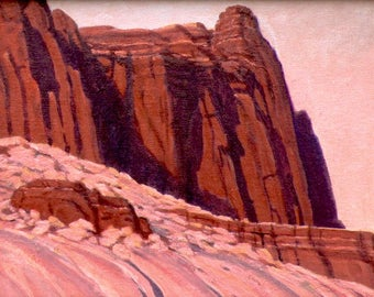 Redrocks 'Pink Hour' - original landscape painting - impressionist - desert painting - sunset -  southwestern decor- Utah - free shipping