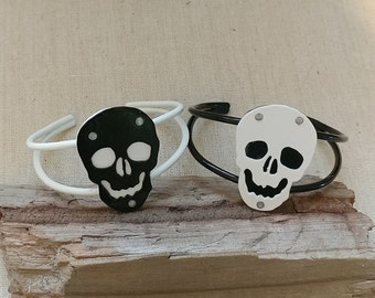 SALE! Choice of White or Black Skull Cuff Bracelet