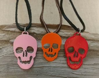 SALE! Choice of Red, Pink, or Orange Skull Necklace
