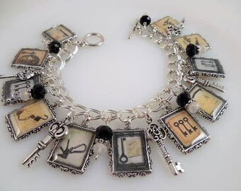 Antique Key Charm Bracelet Altered Art Charms