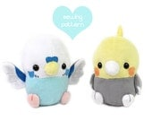 "PDF sewing pattern - Baby Bird plush stuffed animal - kawaii Cockatiel Parakeet soft toy plushie 6"" handheld Parrot Budgie Pokemon"