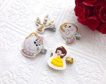 The Beauty and the Beast Feltie Headband or Hair Clip- Belle, Mrs. Potts, Chip, and Lumiere