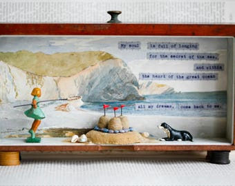 "POSTCARD - featuring image of my ""Secret of the Sea"" Storybox Sculpture - Little Burrow Designs by Claire Read"
