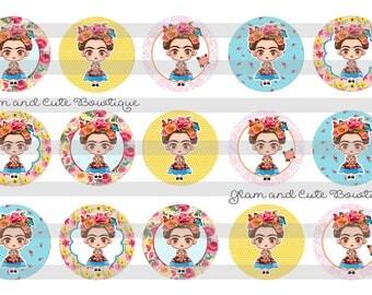 "Frida Kahlo with Roses INSTANT DOWNLOAD Bottle Cap Images 4x6 sheet 1"" circles"