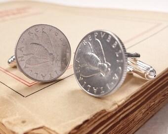 cufflinks with 2  italian lira coin