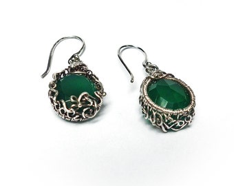 Green Silver925  earrings, chrysoprase in silver, gemstone. luxury earrings
