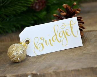 Christmas Placecards, Handwritten Christmas Name Cards, Personalized Gift Tags, Calligraphy Personalized Name Tags, Place cards