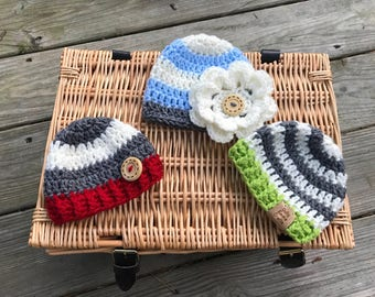 Crochet Baby Beanie with large flower, Newborn Hat, photo prop, Preemie Hat , Baby Hat, Stripe Beanie-All sizes available