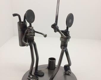 Metal Art - Golfer & Caddie - Free US Shipping!