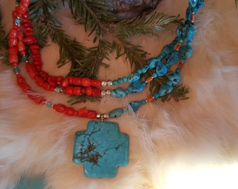Turquoise and Coral with a Twist