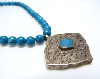 Turquoise necklace with Afghan pendants