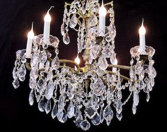 "Lighting Chandeliers Vintage CRYSTAL BRASS 8 Light CHANDELIER 24"" x 28""  Magnificent Ornate Frame ~ Fine Custom Lighting for your home!"