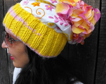 yellow-pink hat