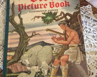Vintage Childrens Book The Bible Picture Book 1946-Collectible Books-Garden City Books-Framable Religious Art-Religious Books-
