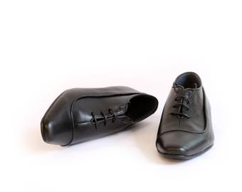 Mens Oxford Shoes - Flat Shoes - Mens Leather Shoes - Leather  Mens ARAMA Shoes with Curve Detail - dress shoes