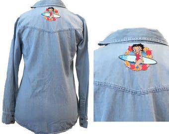 Betty Boop Surfer Girl Patch | Denim Shirt | Light Blue | Boyfriend Shirt | Pearl Snaps