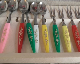 12 party forks and scoops of vintage with box from Poland/Warsaw