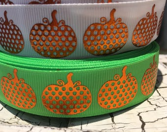 "3 yards 7/8"" Halloween Fall Pumpkins on white or green"